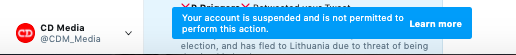 Twitter Suspends 7 CDMedia/Staff Accounts At Once...Guess We Are WAAAY Too Effective!