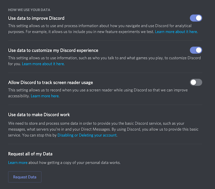 screenshot of discord activity tracking options in app settings